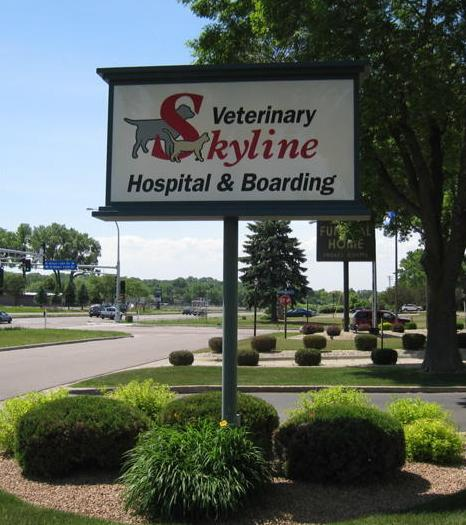 Skyline sign in the summer